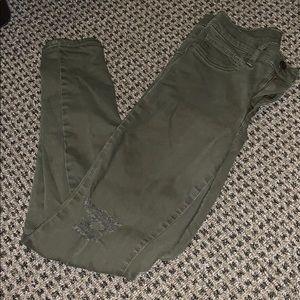 gap army green skinny jeans